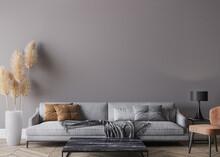 Modern Living Room Interior, Gray Sofa On Dark Empty Wall Mockup