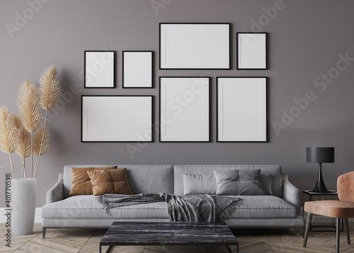 Obraz Modern living room interior, gray sofa on dark wall, gallery wall mockup - fototapety do salonu
