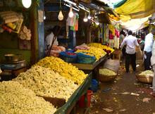 Marché Aux Fleurs De Madurai En Inde Du Sud