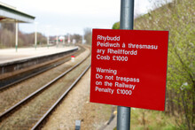 Beware Of Trains Railway Warning Notice In English And Welsh Languages