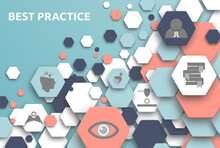 Best Practice. Banner Mit Icons. Competence, Knowledge, Ethic, Vision, Development, Potential, Experience, Performance.