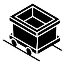 Mining Cart Icon In Modern Glyph Isometric Style