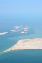 The Pearl-Qatar Island In Doha Through The Airplane Porthole, Aerial View