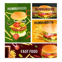 Fast Food Horizontal Banners Set