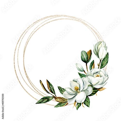 Fototapeta Flower gold frame border