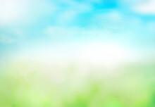 Green Grass Blue Sky Blurred Bokeh Background.Abstract Spring Summer Nature Backdrop,de Focused Illustration.