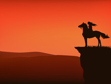 Sunset Wild West Vector Silhouette Scene With Native American Woman Riding Horse At Cliff Top With View Over Mountains