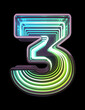 canvas print picture - Infinity Neon font. Minth light. Number 3.