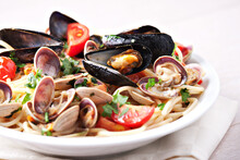 Mediterranean Food. Seafood Spaghetti With Clams On A Plate.