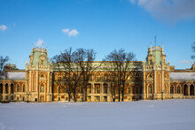 Large Beautiful Palace In The Tsaritsyno Park-reserve On A Snowy Winter Day Against A Blue Sky And A Space For Copying In Moscow Russia