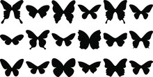 Set Of Butterflies Isolated.  Butterfly Silhouettes. Butterfly Template