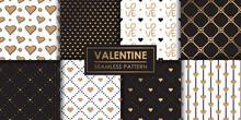 Luxury Valentine Hearts Seamless Pattern Set.