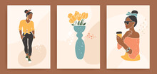 Woman Silhouette Shape In Abstract And Minimalism Style. Fashion Girl Drinking Coffee. Collection Of Posters, Vase With Tulips In Terracotta And Pastel Colors. Contemporary Art Vector Illustration.