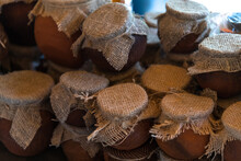 Honey In Clay Pots Covered With Cloth, Abkhazia