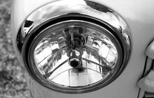 Close-up Of Vintage Headlight In Black And White