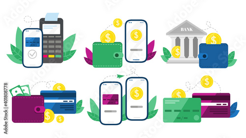 Fototapeta Money transactions. Cash transfers, mobile payments using smartphone and credit card transfer. Digital banking terminal, online payment service. Isolated vector symbols illustration set obraz