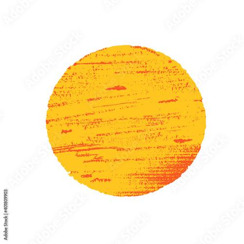 Fototapeta Sun in grunge style. Orange circle on white background. obraz na płótnie
