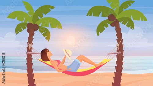 Girl lying in hammock, sea beach summer landscape vector illustration Fototapeta