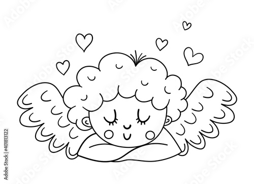 Canvas Vector black and white dreaming cupid with folded arms