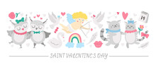 Vector Horizontal Set With Flat Saint Valentine Day Characters And Elements. Card Template Design With Cupid, Funny Animals, Hearts, Flowers. Cute February Love Holiday Border..