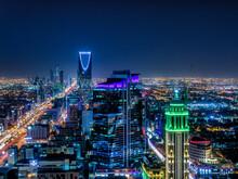 City At Night_Kingdom Of Saudi Arabia Landscape At Night - Riyadh Tower Kingdom Center - Kingdom Tower - Riyadh Skyline - Riyadh At Night