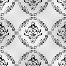 Seamless Damask Pattern For Background Or Wallpaper Design. Damask Wallpaper. Seamless Oriental Pattern. Gray Color
