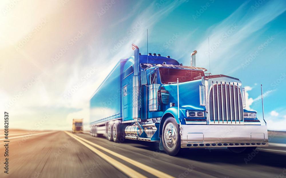 Fototapeta truck on highway