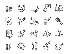 Vaccine And Vaccination Icons Set. Collection Of Simple Linear Web Icons Such As Vaccination Of People, No Vaccination, Vaccination In The Shoulder, Vaccine For Children, Vaccine Against Virus, Ampoul