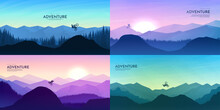 Travel Concept Of Discovering, Exploring And Observing Nature. Mountain Bike. Cycling. Adventure Tourism. Minimalist Vector Flat Illustration. Sunset Scene. Set Of Background. Freestyle Biker