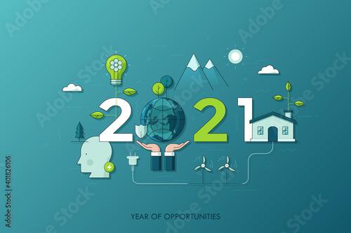 2021 Vecot Conceptual Illustration Fototapet