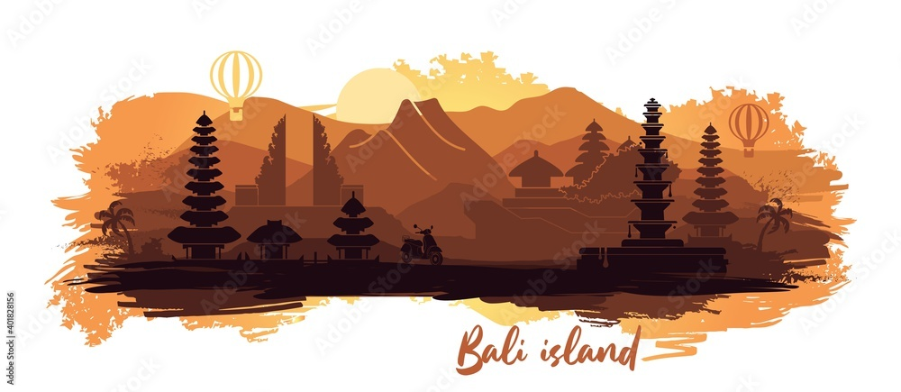 Fototapeta Abstract landscape of the Indonesian island of Bali with the main attractions