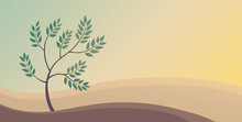 Peaceful Landscape Of Nature. Deciduous Tree And Hills. Banner With Place For Text. Vector Background Illustration.