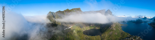 Obraz na plátně Travel concept with aerial panorama of Norwegian fiords with sea and mountains