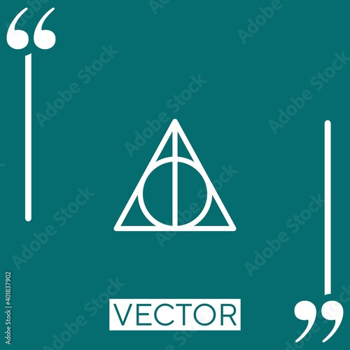 Leinwand Poster deathly hallows vector icon Linear icon. Editable stroked line