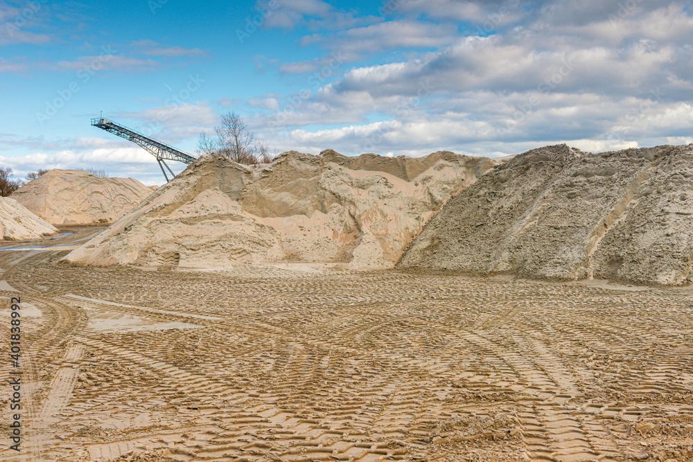 Fototapeta sand pit at the quarry pond