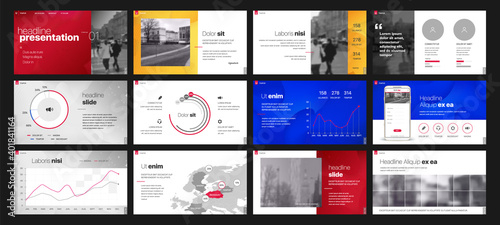 Fototapeta Geometric Graphic Design Project Proposal Presentation. Infographic Slide Template. For use in Presentation, Flyer and Leaflet, SEO, Marketing, Webinar Landing Page Template, Website Design, Banner. obraz