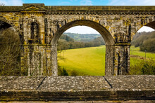 A View Across The Aqueduct And Towards The Railway Viaduct At Chirk, Wales. The Railway Viaduct Is Built Above The Aqueduct Which Was To Symbolise That Railway Transport Is Superior To Canal Trans