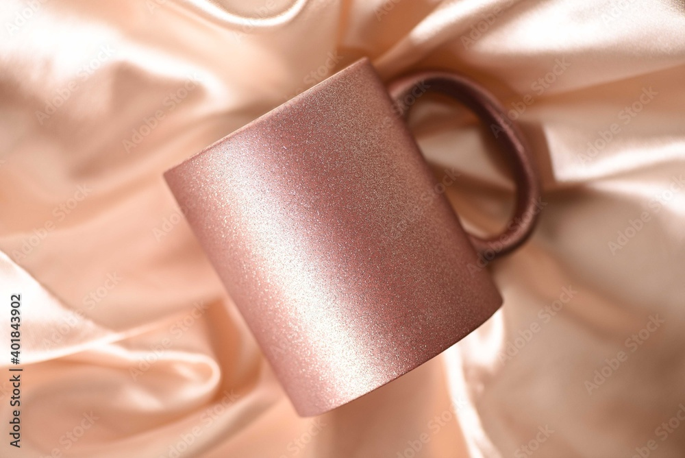 Fototapeta Mug, shine mug, glitter mug, rose gold mug, cup coffee, rose mug, glitter mug, glitter cup coffee,