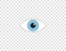 Watch, Eye Icon On Transparent Background. Vector Illustration, Flat.