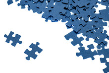 Small Blue Puzzle Pieces On A White Background, Add A Picture From Small Pieces, A Useful Exercise For The Brain, Training Attention And Patience