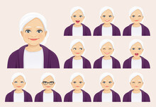 Mature Senior Woman With Different Facial Expressions Set Isolated Vector Illustration