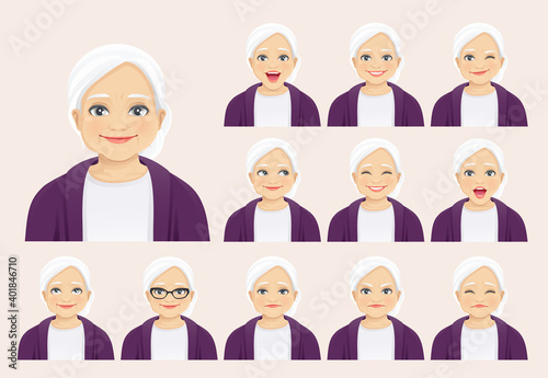 Fototapeta Mature senior woman with different facial expressions set isolated vector illustration obraz