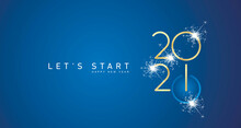 Start Of Happy New Year 2021 Golden White Shining Stars Rounded Typography Blue Background Banner And Turn On Button Icon