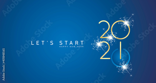 Fototapeta Start of Happy New Year 2021 golden white shining stars rounded typography blue background banner and turn on button icon obraz