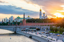 Moscow Kremlin Towers At Sunset, Russia
