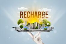 Waiter Serving Eco City With RECHARGE Inscription, Renewabke Energy Concept