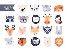 Cute Animal Baby Faces Set Vector Illustration. Hand Drawn Nursery Characters Collection For Graphic, Print, Card Or Poster. Creative Scandinavian Funny Kid Design
