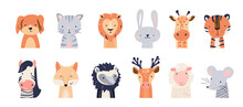 Cute Animal Baby Faces Set Vector Illustration. Hand Drawn Nursery Characters Collection With Cat, Dog, Lion, Tiger, Giraffe, Fox, Deer, Hedgehog, Sheep, Mouse, Rabbit. Scandinavian Funny Kid Design