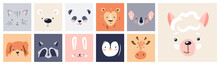 Cute Animal Baby Face Posters Set Vector Illustration. Hand Drawn Nursery Character Card Collection For Graphic, Print, Card Or Poster. Trendy Scandinavian Funny Kid Design