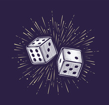 Two Dice. Gambling, Casino Concept Vector Illustration